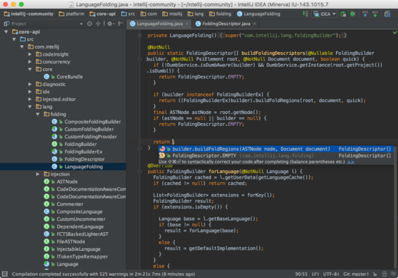 Captura de pantalla de IntelliJ IDEA