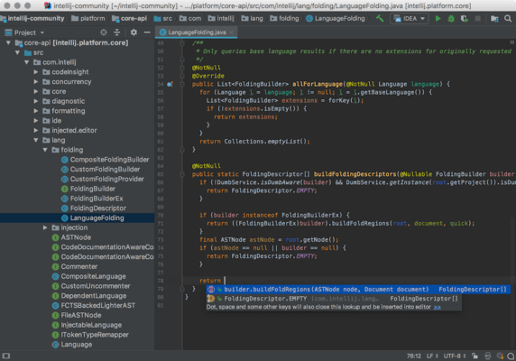 Screenshot von IntelliJ IDEA