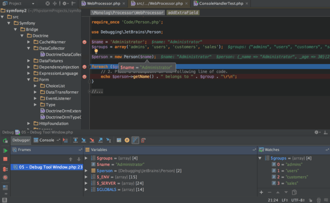 Captura de tela do PhpStorm