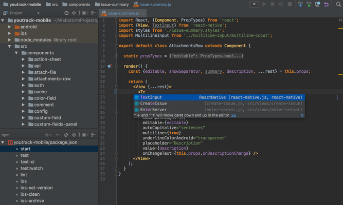 Captura de tela do WebStorm