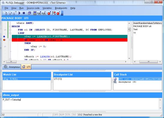 PL/SQL Debugger 的螢幕截圖