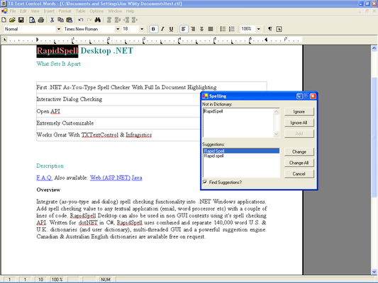 Screenshot of RapidSpell Desktop .NET Dictionaries