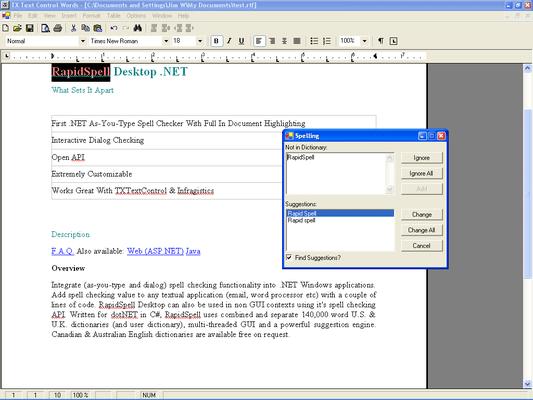 RapidSpell Desktop .NET Dictionaries(英語版) のスクリーンショット
