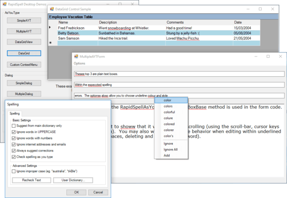 Screenshot of RapidSpell Desktop .NET & Thesaurus Desktop .NET Bundle