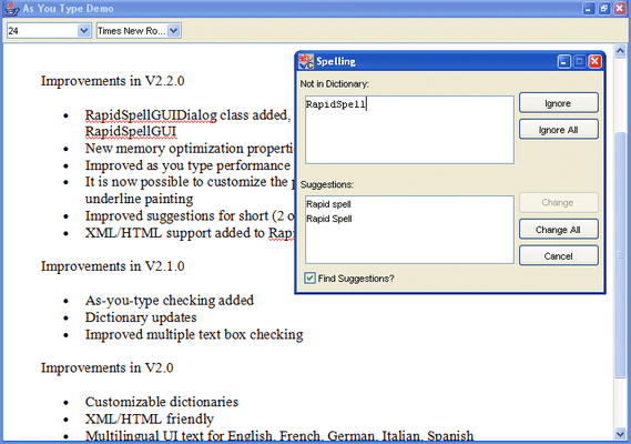 Screenshot of RapidSpell Java Dictionaries