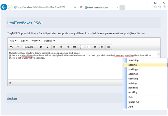 Screenshot of RapidSpell Web ASP.NET Dictionaries