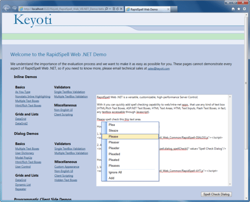 Screenshot of RapidSpell Web ASP.NET