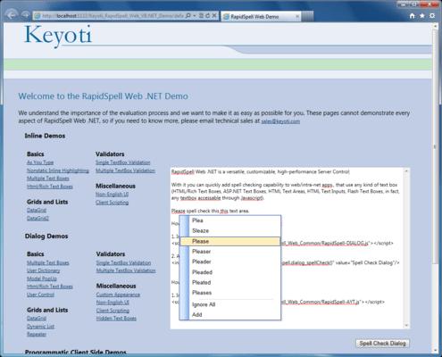 RapidSpell Web ASP.NET(英語版) のスクリーンショット