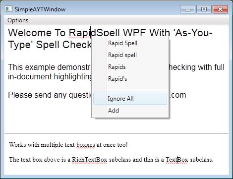 RapidSpell WPF(英語版) のスクリーンショット