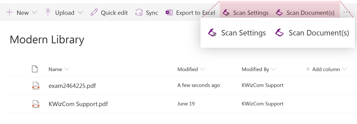 Screenshot of KWizCom Scan App (Office 365)