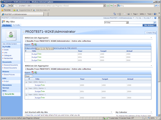 Screenshot of KWizCom SharePoint List Aggregator
