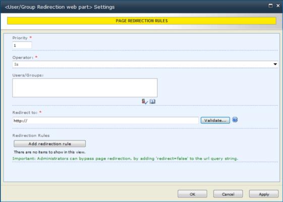 KWizCom User/Group Redirection Web Part のスクリーンショット