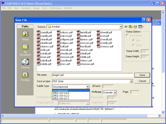 Screenshot of LEADTOOLS Advanced PDF Plug In