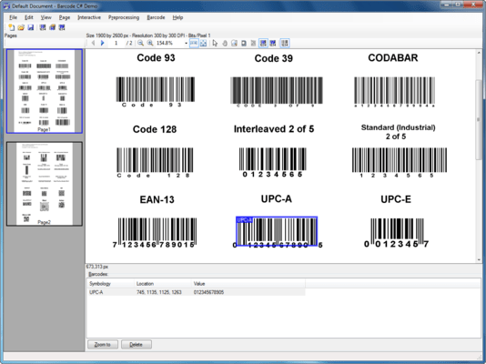 Screenshot of LEADTOOLS Barcode Pro