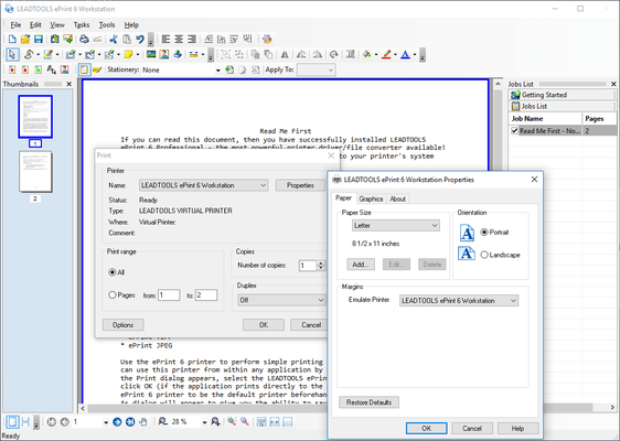 Screenshot of LEADTOOLS ePrint Professional