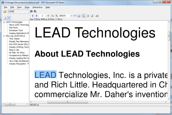 Captura de tela do LEADTOOLS Imaging Pro SDK