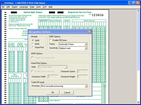 LEADTOOLS OMR Module(英語版) のスクリーンショット