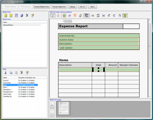 Screenshot of LEADTOOLS Recognition SDK