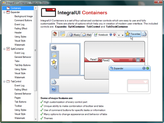Screenshot of IntegralUI Containers