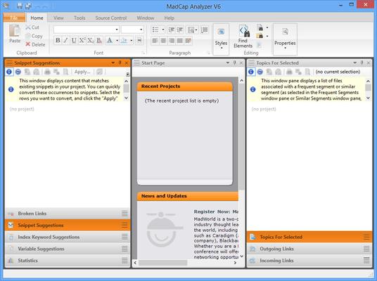 Captura de tela do MadCap Analyzer