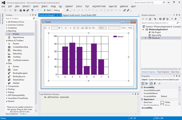 Screenshot of Microsoft Visual Studio 2013 Premium