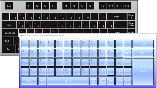 Screenshot of MindFusion.Virtual Keyboard for WinForms