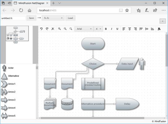 Screenshot of MindFusion.ASP.NET Pack