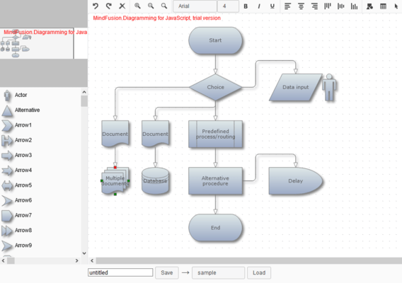 Screenshot of MindFusion.Diagramming for JavaScript