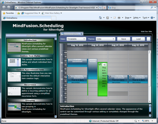 Capture d'écran de MindFusion.Scheduling for Silverlight
