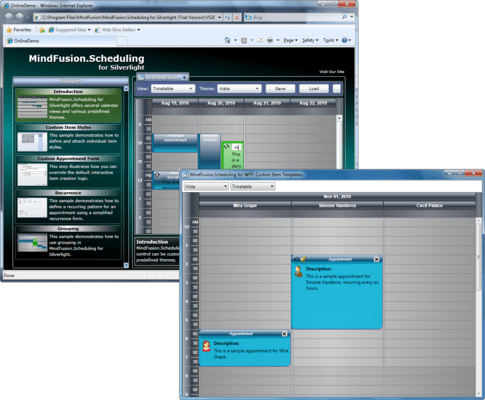 Screenshot of MindFusion.Scheduling Pack