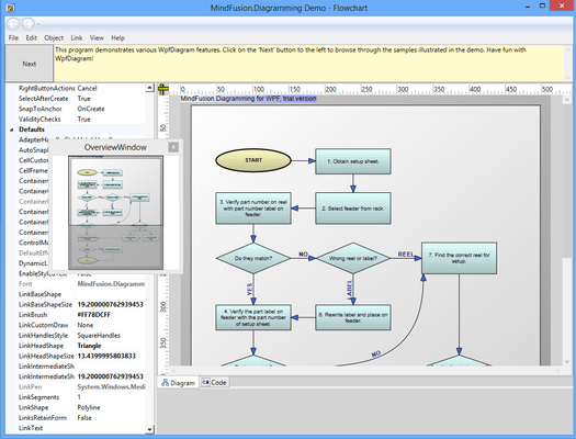 Captura de pantalla de MindFusion.Diagramming for WPF