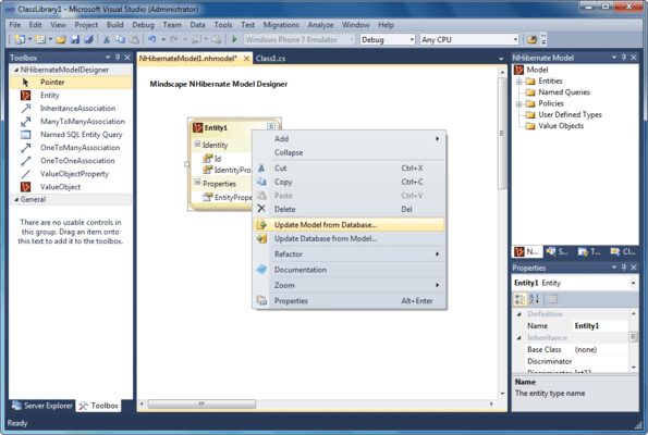 Captura de pantalla de Mindscape NHibernate Designer