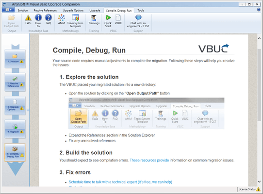 Screenshot of Visual Basic Upgrade Companion