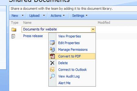 Screenshot of Muhimbi PDF Converter for SharePoint