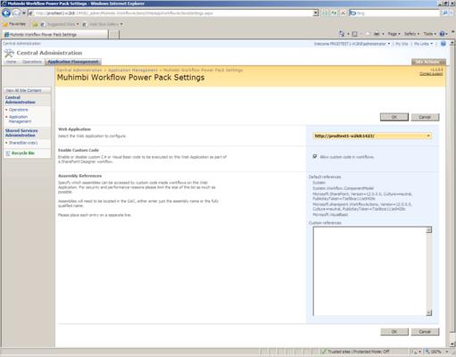Screenshot of Muhimbi Workflow Power Pack for SharePoint