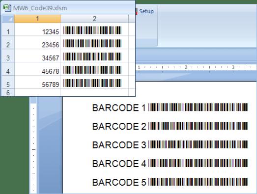 Screenshot of MW6 Barcode Fonts