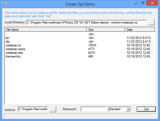 Screenshot of IP*Works! Zip .NET Edition