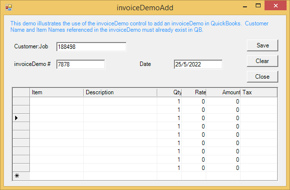 Screenshot of QuickBooks Integrator ActiveX/COM Edition