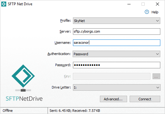 Screenshot of SFTP Net Drive