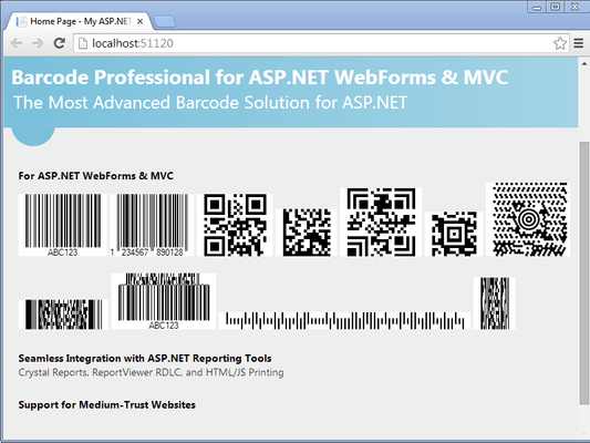 Screenshot of Neodynamic Barcode Professional for ASP.NET - Ultimate Edition