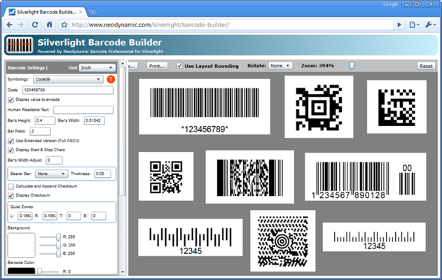 Screenshot of Neodynamic Barcode Professional for Silverlight