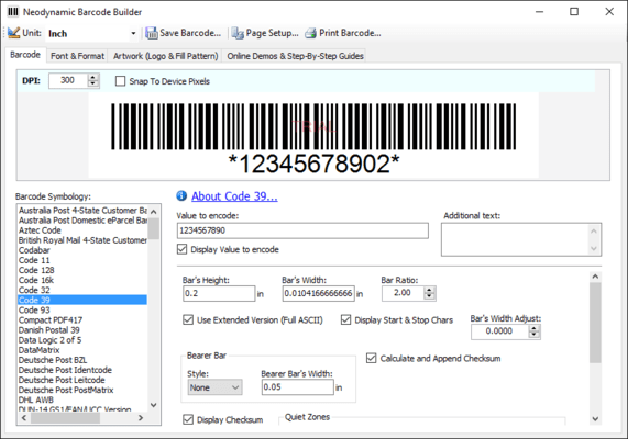 Neodynamic Barcode Professional for Windows Forms - Basic Edition(英語版) のスクリーンショット