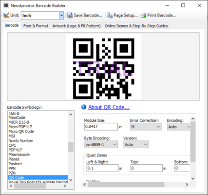 Screenshot of Neodynamic Barcode Professional for Windows Forms - Ultimate Edition