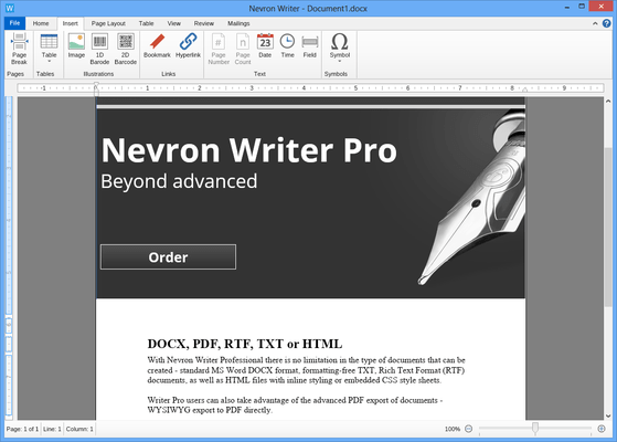 Screenshot of Nevron Writer