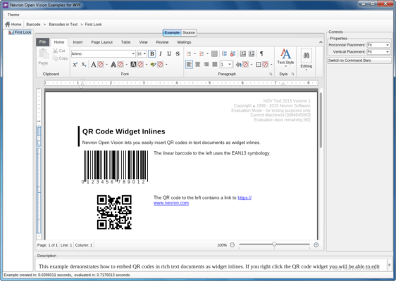 Capture d'écran de NOV Barcode for .NET