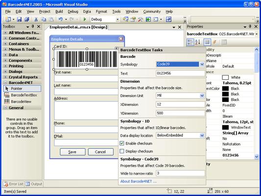 Screenshot of Barcode4NET ASP.NET & Reporting Services
