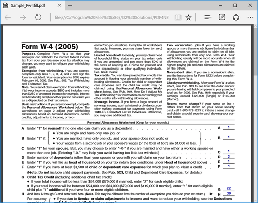 PDF4NET (英語版) のスクリーンショット