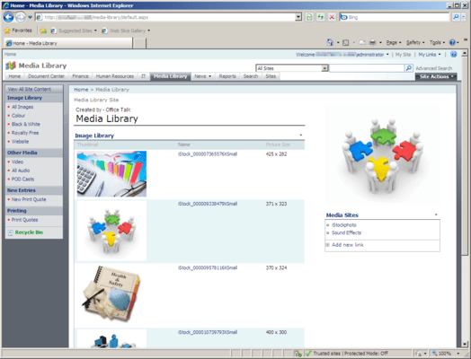 Screenshot of Office Talk Media Library Templates for SharePoint