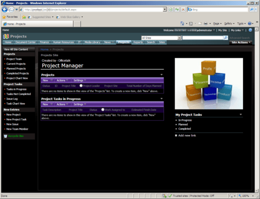 Screenshot of Office Talk Projects Templates for SharePoint