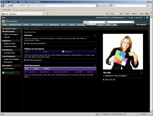 Screenshot of Office Talk Reception Templates for SharePoint